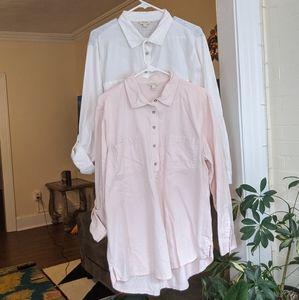 Two Sonoma XL Cotton Collared Shirt